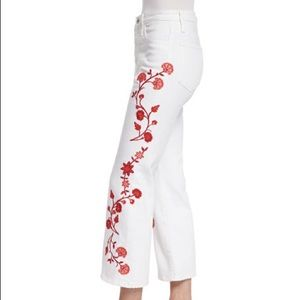 AG Adriano Goldschmied embroidered flare crop jean